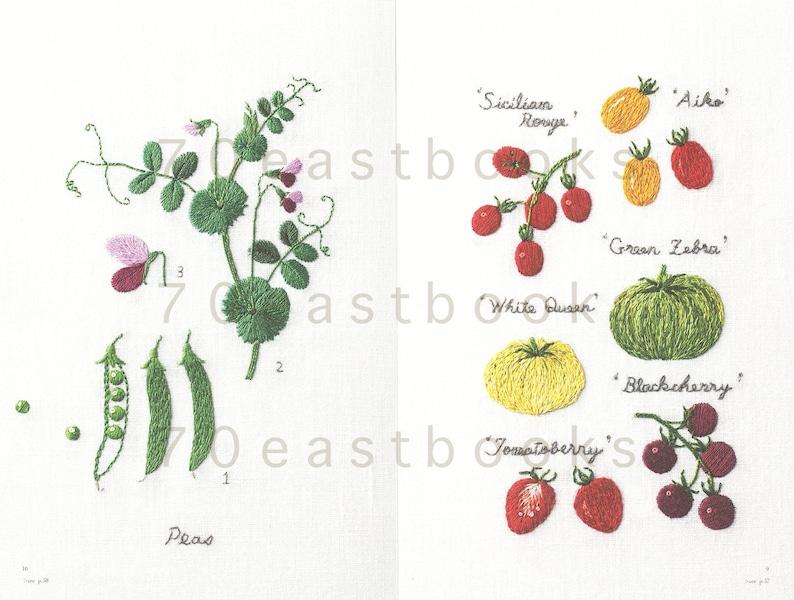 Embroidered Kitchen Garden Japanese Craft Book Embroidery of the garden vegetables illustration by Aoki Kazuko