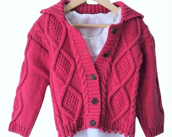 Raspberry cable hand knit cardigan