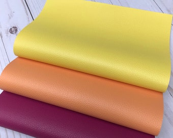 Faux leather sheets. Raspberry, Peach, Yellow leather sheets. Faux leather, craft supplies leather supplies. Diy