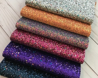 Glitter fabric sheets. Chunky Glitter sheets. Available in 6 colors. Craft supplies. Glitter sheets supplies