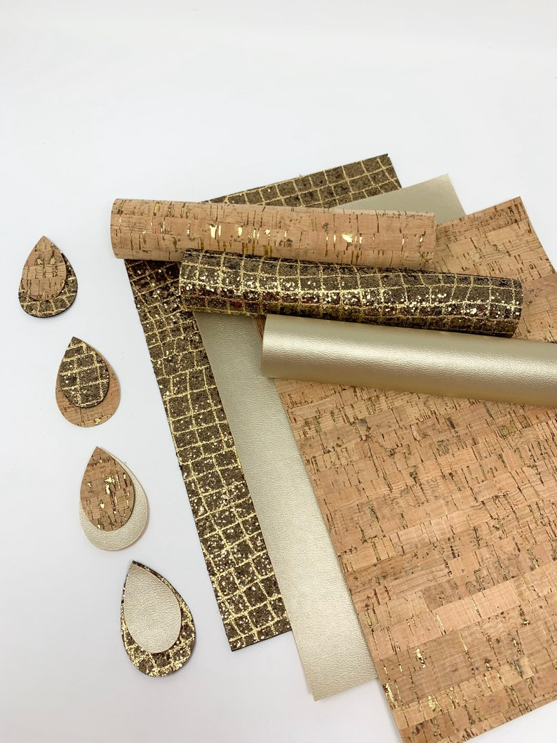 Cork sheets. Faux leather sheets. Glitter sheets. Texture leather sheet. Craft supplies. Earrings. Hair bows. Leather sheets photo