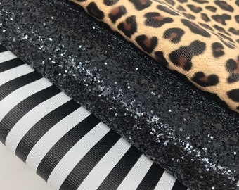 Pvc black white stripes. Cream leopard lether sheets. Chunky black glitter sheets. Craft supplies. Leather and glitter. C06