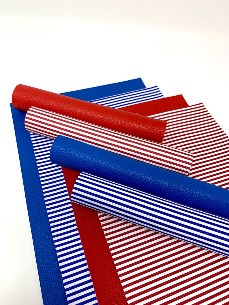 Red and blue leather sheets. Faux lether sheets. Pvc leather sheets. Crfat supplies. Hair bow supplies. Stripes pvc leather sheets C01 photo