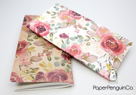Midori Insert Watercolor Florals Burgundy Pink Travelers Notebook Bullet Journal Traveler's Notebook
