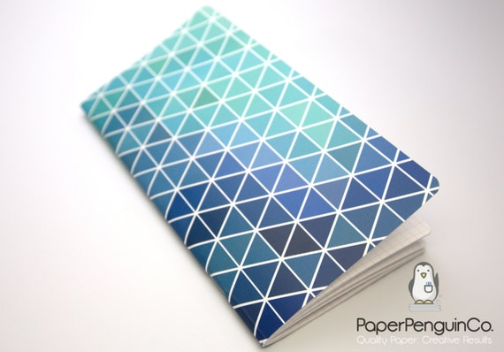 Midori Insert Geometric Blues Travelers Notebook Regular A5 Wide B6 Personal A6 Pocket Field Notes Passport/Grid Dots Lined/Bullet Journal