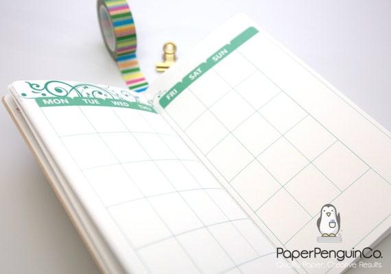 Midori Insert Undated 24 Months Monthly Calendar A5 Regular B6 Slim Wide A6 Personal Pocket FN Passport Colorful Travelers Notebook