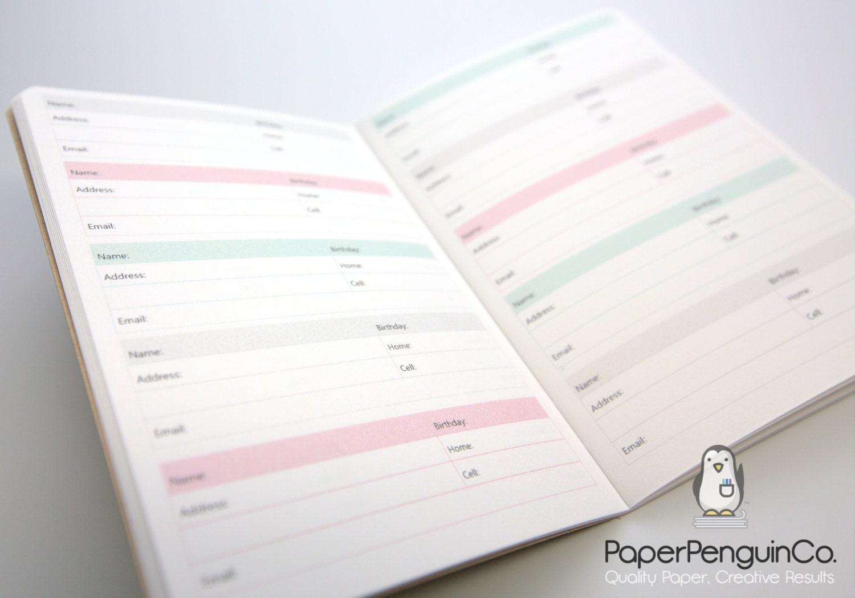 midori insert address book phone book colorful brown cover