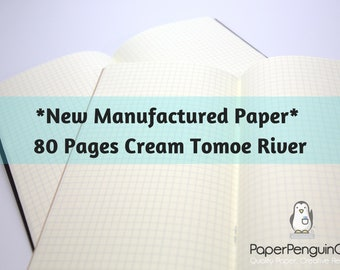 New Cream Manufactured Paper Tomoegawa 52 gsm Tomoe River Paper 80 Page Travelers Notebook