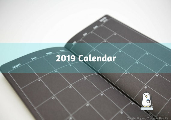 2019 Monthly Calendar Black Midori Insert Regular A5 B6 Wide A6 Personal Pocket FN Passport 12 Month Plain Kraft Brown Traveler's Notebook