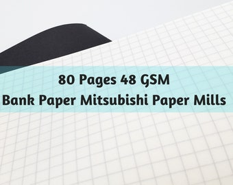Bank Paper 80 Page Mitsubishi Paper Mills 48 gsm Travelers Notebook Bullet Journal Notebook
