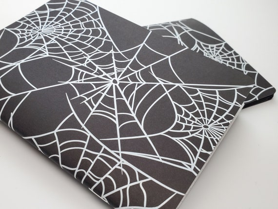 Halloween White Spider Webs Black Cover Travelers Notebook Grid Dots Lined Blank Bullet Journal