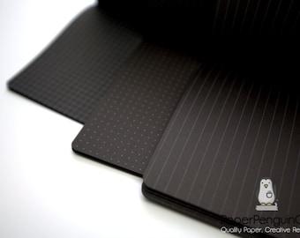 Midori Insert Black Paper Grid Dots Lined Gray Travelers Notebook Black Brown Regular A5 Wide B6 Slim Personal A6 Pocket FN Passport Micro