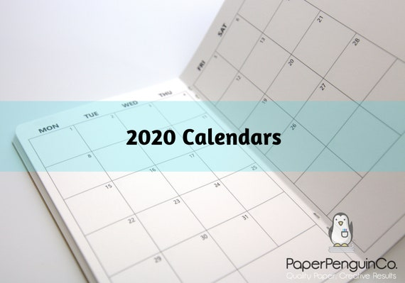 2020 Monthly Calendar Midori Insert Regular A5 B6 Wide A6 Personal Pocket FN Passport 12 Month Plain Kraft Brown Traveler's Notebook