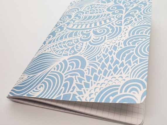 Light Blue Swirls Travelers Notebook Grid Dots Lined Blank Bullet Journal