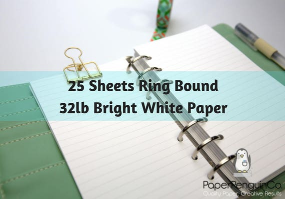 Planner Inserts 25 Sheets 32lb White Paper Filofax A5 Planner Inserts Personal Planner Pocket Personal Wide Kikki K Inserts Foxy Fix Pages