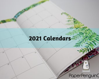 SALE: 2021 Floral Monthly Calendar Regular A5 B6 Wide A6 Personal Pocket FN Passport 12 Month Colorful Floral Brown Travelers Notebook