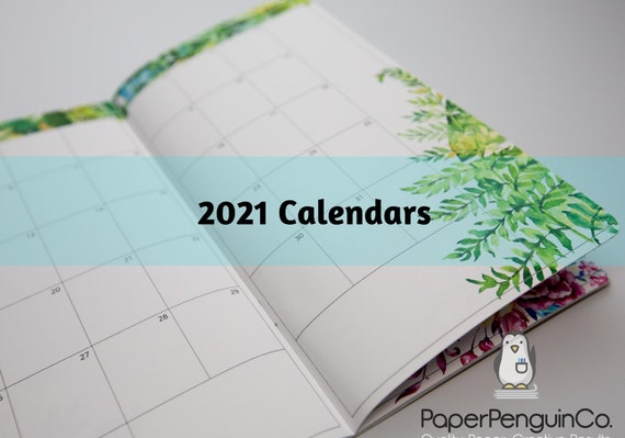 2021 Floral Monthly Calendar Regular A5 B6 Wide A6 Personal Pocket FN Passport 12 Month Colorful Floral Brown Travelers Notebook