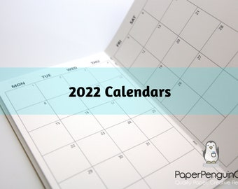 2022 Plain Monthly Calendar Travelers Notebook Kraft Brown Cover 12 Months Sunday Start Monday Start Extra Pages Grid Dots Lined Blank