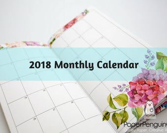 Midori Insert 2018 Monthly Calendar Regular A5 B6 Wide A6 Personal Pocket FN Passport 12 Month Colorful Floral Brown Travelers Notebook