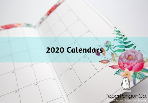 2020 Monthly Calendar Regular A5 B6 Wide A6 Personal Pocket FN Passport 12 Month Colorful Floral Brown Travelers Notebook