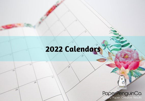 2022 Floral Monthly Calendar Travelers Notebook Kraft Brown Cover 12 Months Sunday Start Monday Start Extra Pages Grid Dots Lined Blank
