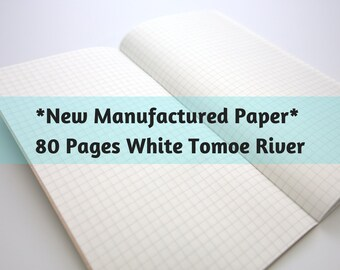 New White Manufactured Paper Tomoegawa 52 gsm Tomoe River Paper 80 Page Travelers Notebook