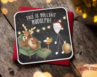 Funny Christmas Card / Christmas Card / Funny Holiday Card / Funny Rudolph Card / Mince Pies / Christmas Stickman / XS13