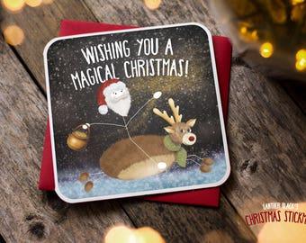 Cute Christmas Card /Funny  Christmas Card / Funny Holiday Card / Santa card / Rudolph card / Magic card / Magical Christmas / XS16