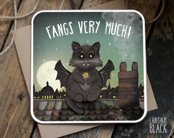 Thank you cards / Cute thank you card / Funny thank you / Friend thank you /  Fangs very much / Cat card / CT01