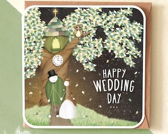 Wedding Card Congratulations / Happy Wedding Day / Woodland Wedding / Mr & Mrs / Newlywed / SM28