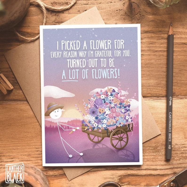 Girlfriend Anniversary Card Thank you Flowers Cute Wife Birthday Card