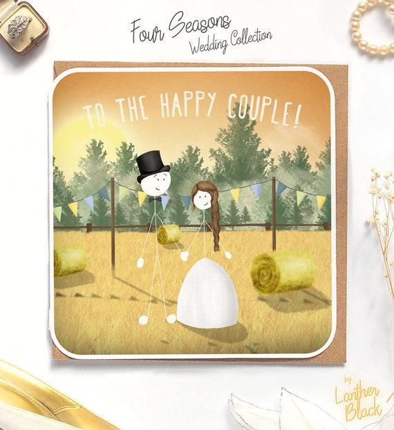 Wedding Card Congratulations  Happy Wedding Day  Woodland Wedding  Mr /& Mrs  Newlywed  SM28