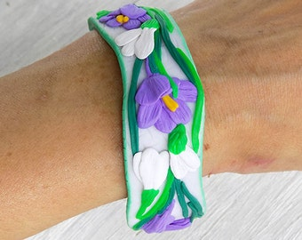 Beauty gift Solid Bangle flowers Nature bracelet Floral bracelet Polymer clay bracelet for girl Polymer clay bangle bracelet flowers