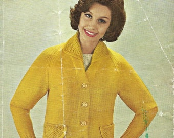 Lister Lady's Knitted Jacket Cardigan Double Knit  Knitting Pattern Vintage PDF Download