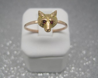 Antique gold fox ring Victorian conversion