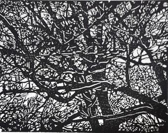Branches lino print