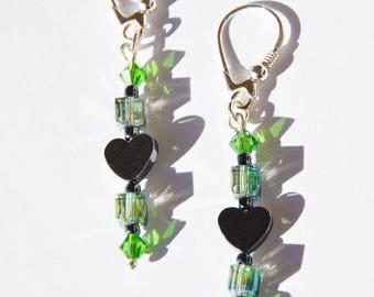 Pierced earrings, 925 sterling silver, Hematite, glass beads, Swarovski. LBC040217L