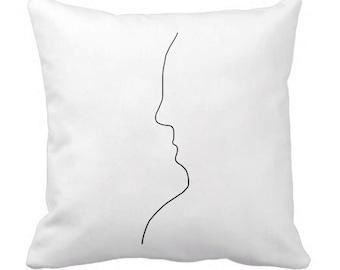 Face Pillowcase Picasso Style Sketch Line Drawing Art Pillow case White Cotton 40x40 cm KYOUSTUFF