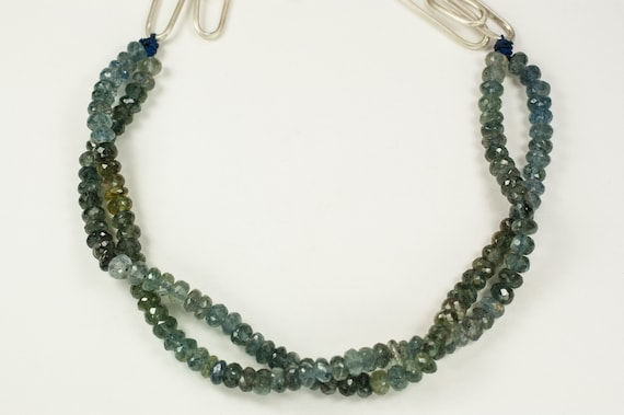 Moss Aquamarine Faceted Beaded Necklace on Silk Cord Handmade Argentium Silver Multi Link Hand Soldered Chain Lobster Clasp Recycled Silver