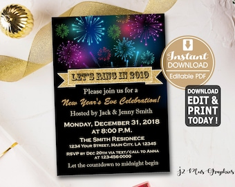 instant download new years eve invitation new years eve party invitations new year invitation new years eve invites diy editable pdf