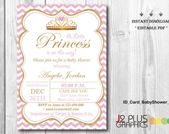 Princess baby shower invitations etsy instant download baby shower invitations printable princess baby shower invitation instant download invites template diy editable pdf filmwisefo