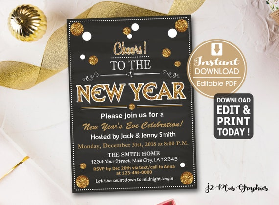 Printable Chalkboard New Years Party Invitation