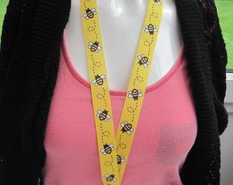 lanyard breakaway bumble bee ID holder keyring cartoon handmade yellow