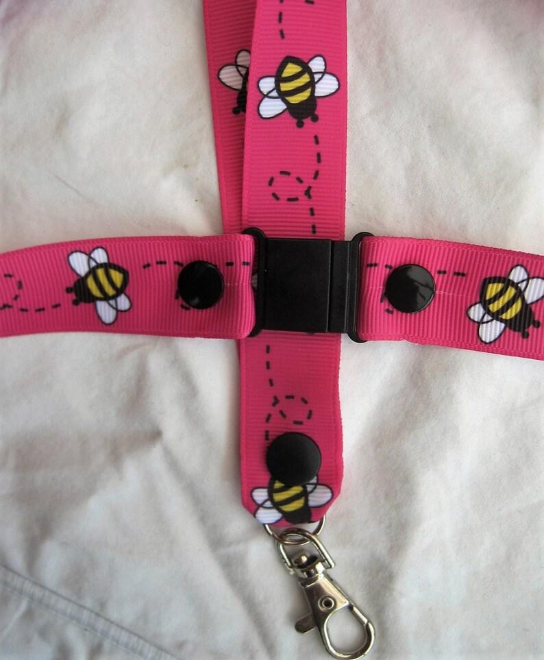 lanyard breakaway bumble bee ID holder keyring cartoon handmade pink