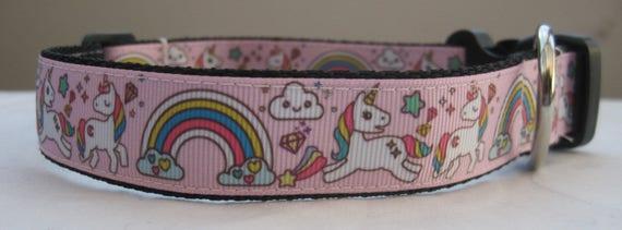 Collier de chien de licorne ou correspondant plomb rose funky mignon poney arc-en-ciel