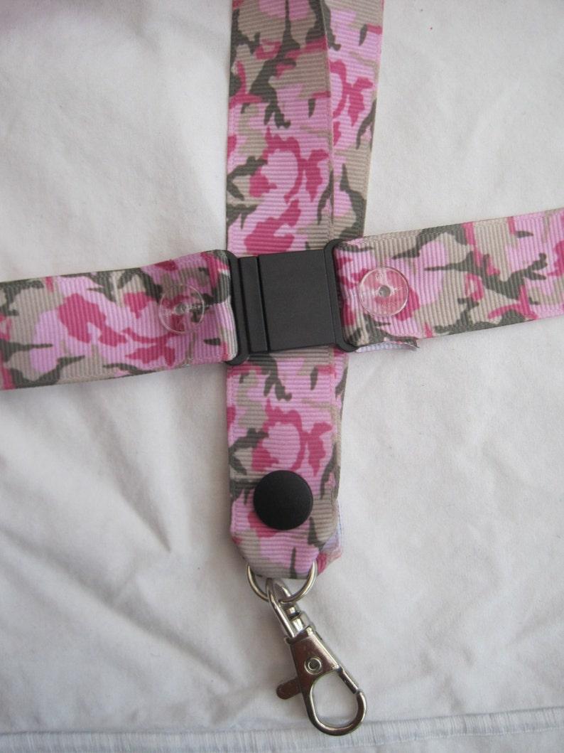 camouflage pink lanyard breakaway ID holder keying army camo green