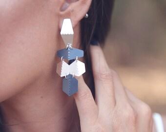Black Silver Dangle Earrings, Modern Earrings, Chandelier Silver Earrings, Oxidized Long Earrings, Long Silver Black Earrings, Gift For Her
