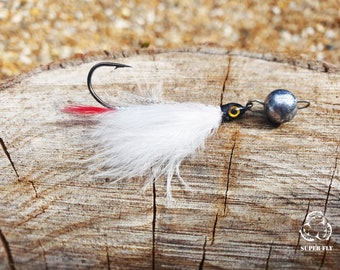 FISHIN ADDICT Jig Fly Nano white ghost red flash fishing lure handmade Super Fly 3g cheb