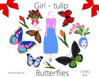 70 off sale butterfly with tulips clip art spring clip art summer clip art beauty girls spring girls butterflies vector clipart