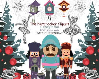 the nutcracker clipart cute winter christmas clip art fashion ballerina ballet christmas tree planner stickers silver glitter cuckoo clock